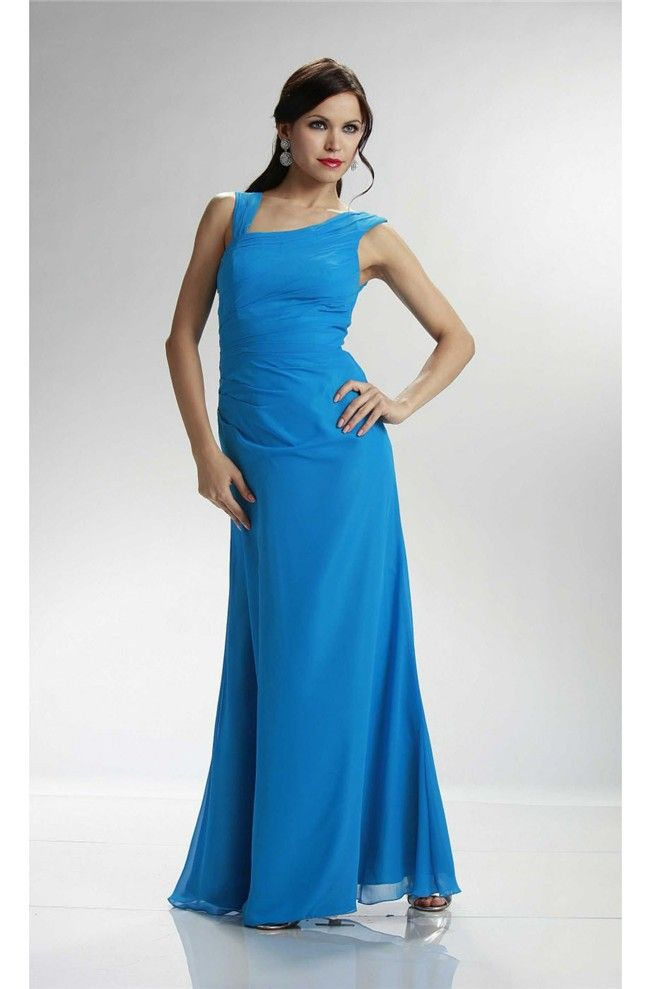 0631483c2eb7 Asymmetrical Neckline Long Ocean Blue Chiffon Ruched Bridesmaid Evening  Dress