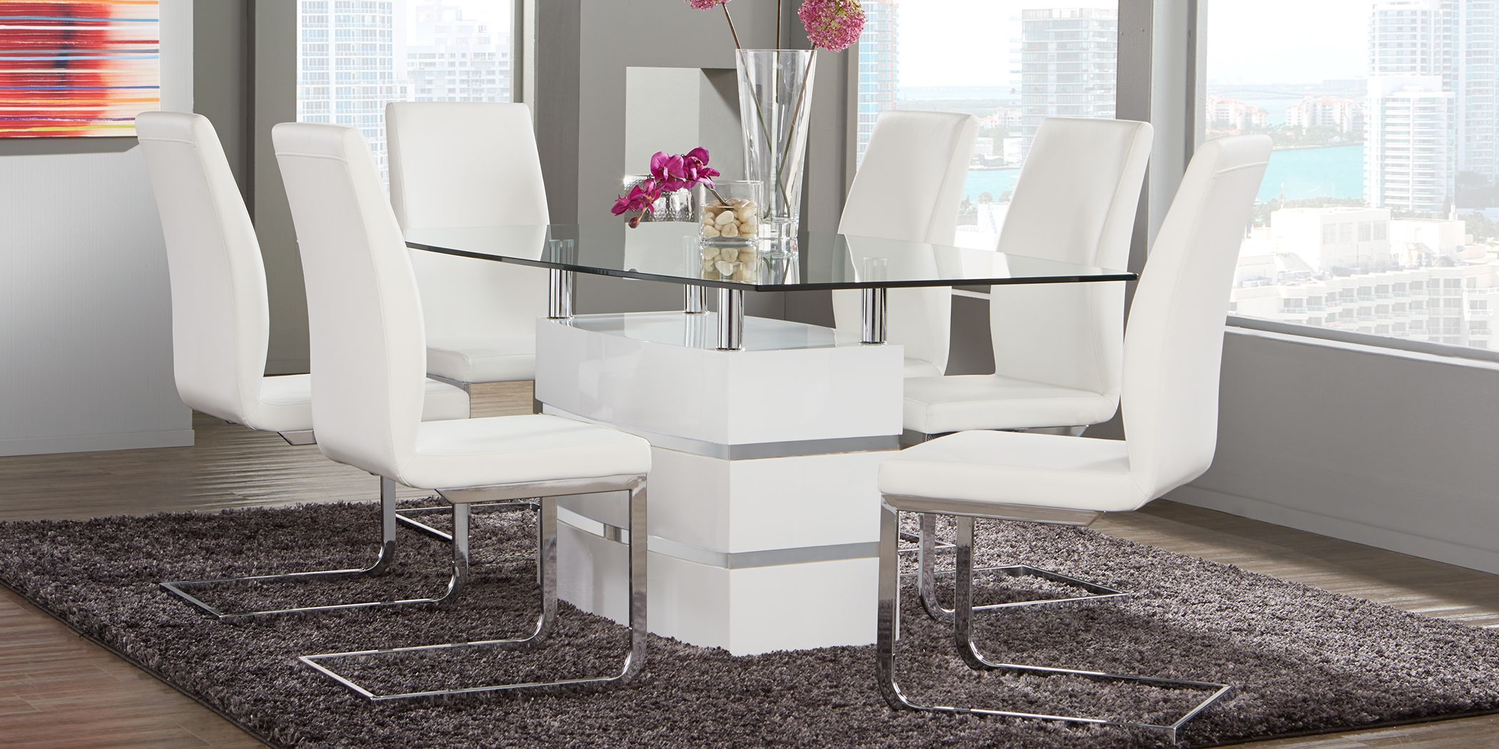 Tria White Rectangle Dining Table Rooms To Go Grey Dining Room Furniture Dining Room Sets White Dining Room Furniture