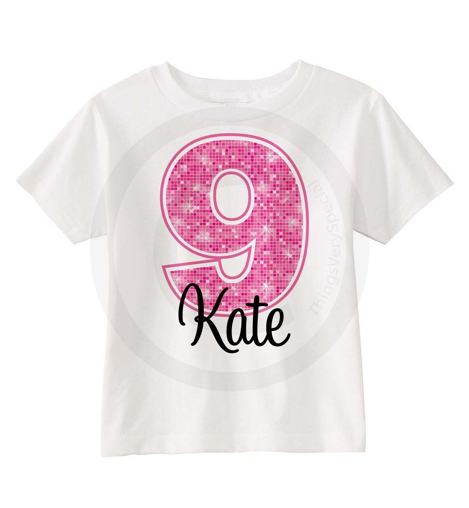 9th Birthday Shirt For 9 Year Old Girl Personalized Pink Number Ninth 04092013c