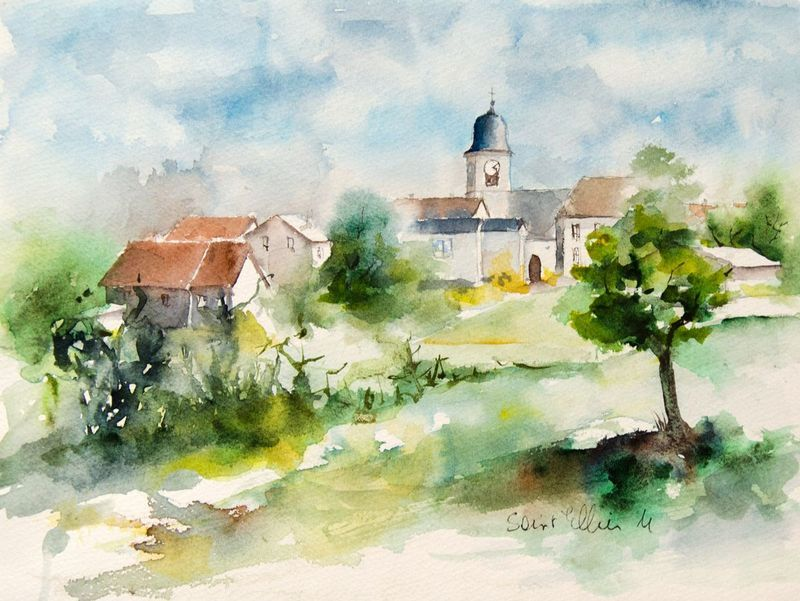 Village In Franche Comte By Martine Saint Ellier Watercolour On