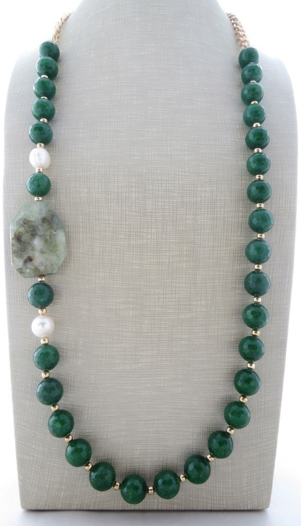 Collana con giada verde, prehnite e perle, gioielli con pietre dure ...