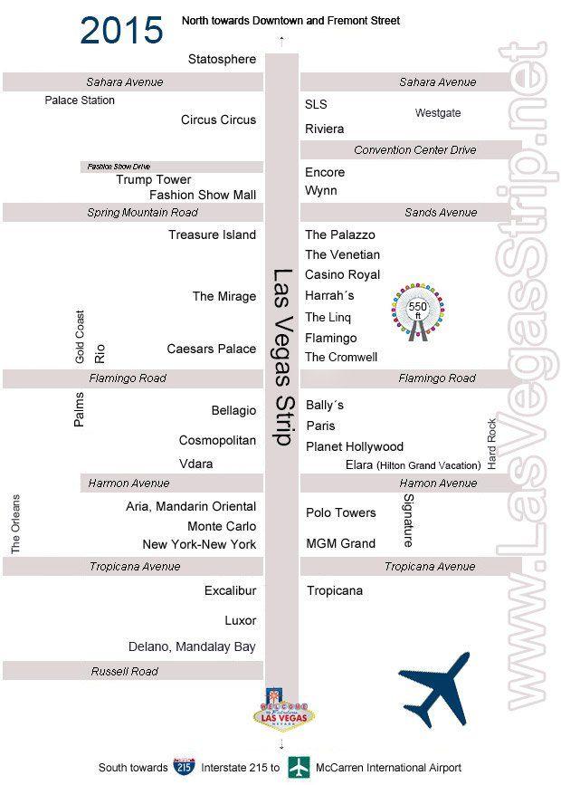 Las Vegas Strip map 2015  Las Vegas  Pinterest  Hotels Las