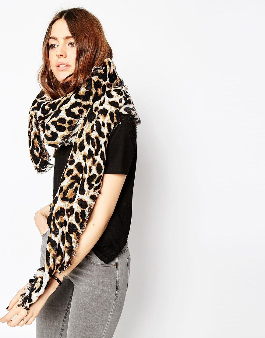 Image 1 of ASOS Oversized Lightweight Scarf In Leopard Print e30e54d66