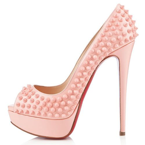 1e8413ac023c All You Need is Love And Christian Louboutin Lady Peep Spikes 140mm Peep  Toe Pumps Baby Pink CMK!