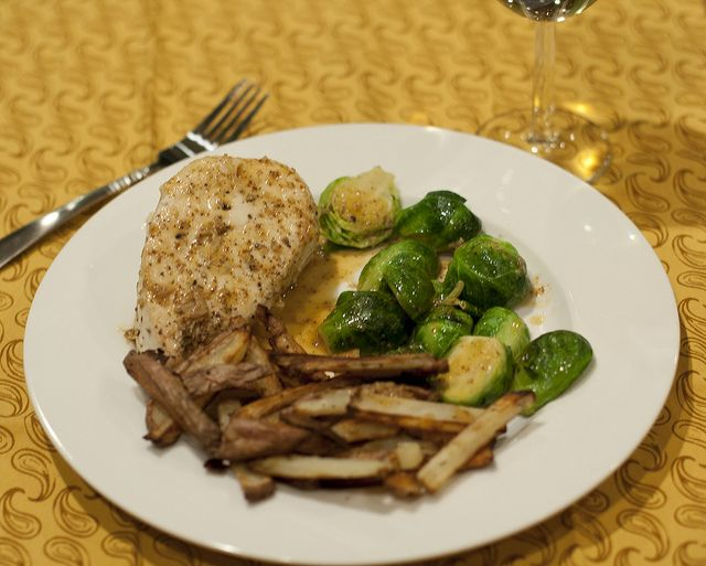 Roasted Chicken with Brussels andPotatoes