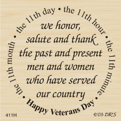 Veterans Day Greeting Rubber Stamp By DRS Designs:Amazon:Arts ...
