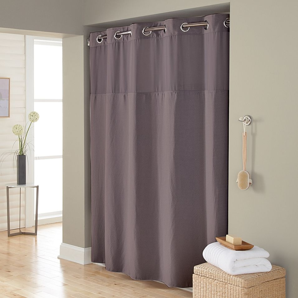 Hookless Waffle 71 Inch X 86 Inch Fabric Shower Curtain In Dark
