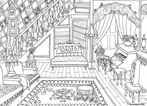 Resultado de imagem para desenho preto e branco para for Sala de estar dibujo