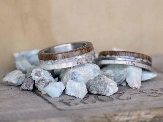 Wedding Ring Set Antler Walnut Larimar 3 And 4 Overlays Etsy Ring Sizes Chart Custom Rings Womens Wedding Bands