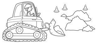 Baustellenfahrzeuge ausmalbilder  Transportmittel: Kostenlose Malvorlage: Bagger auf der Baustelle ...