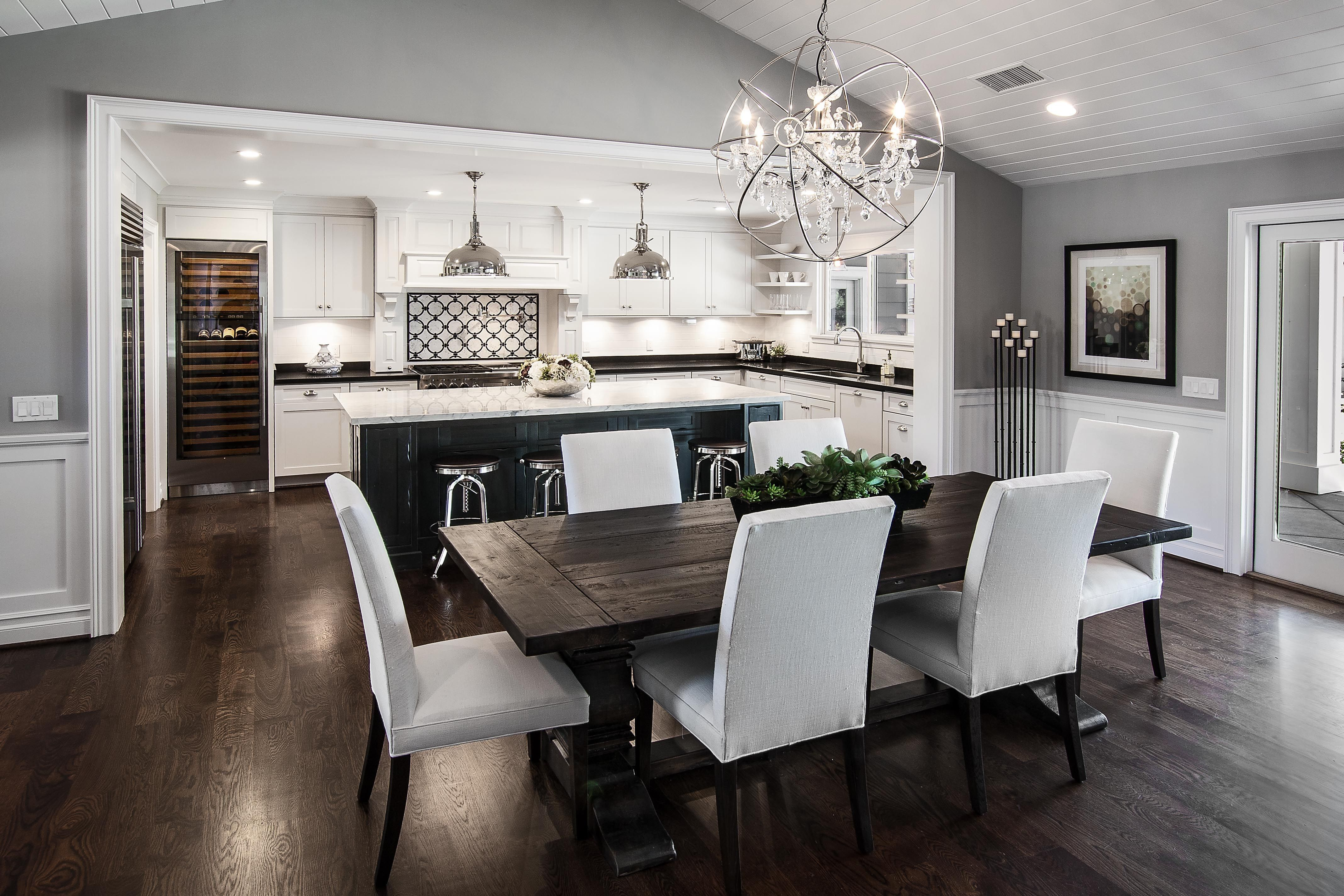 Black Color Table Dining Room With Dark Wood Floors Living