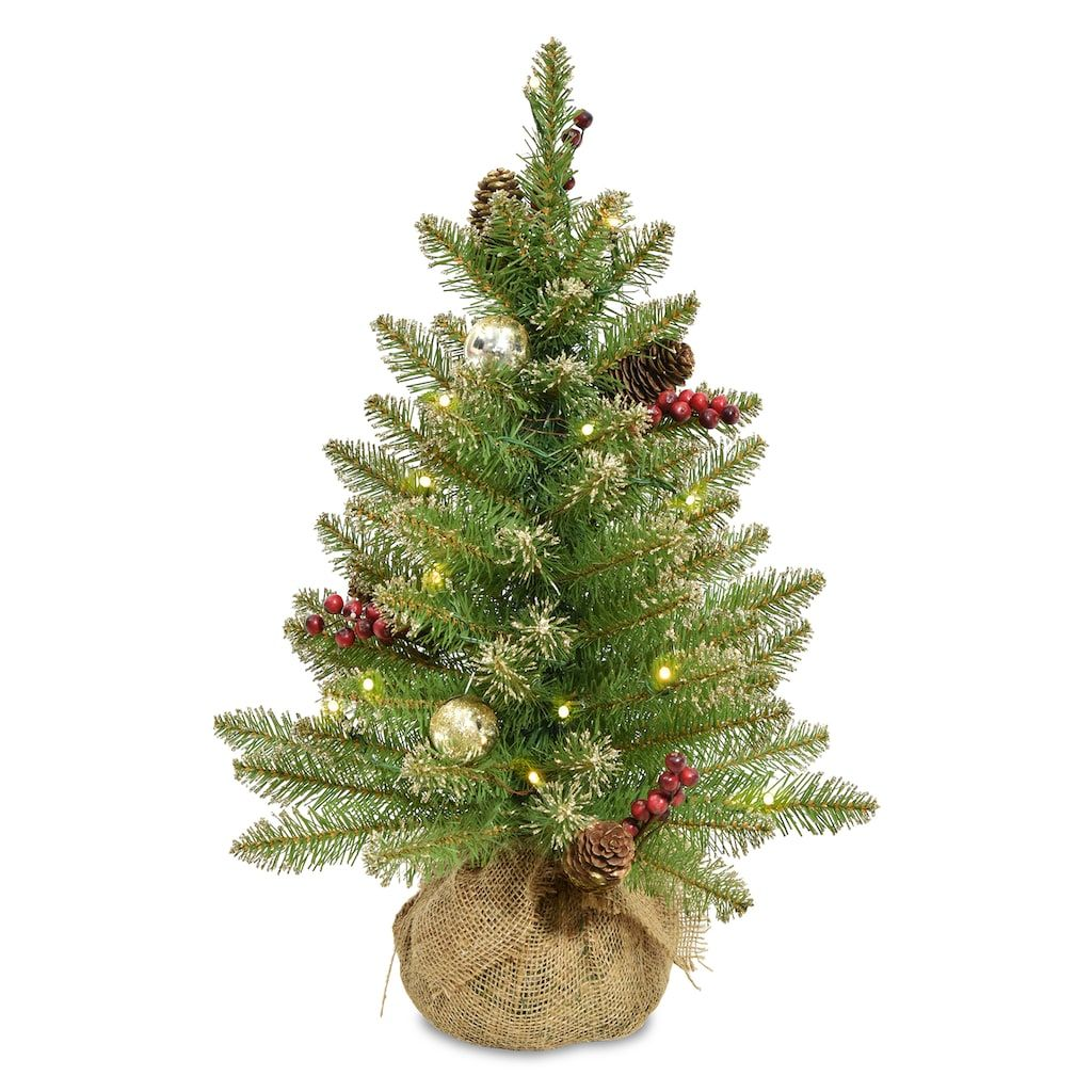 national tree company 2 ft pre lit glittery gold dunhill fir artificial christmas
