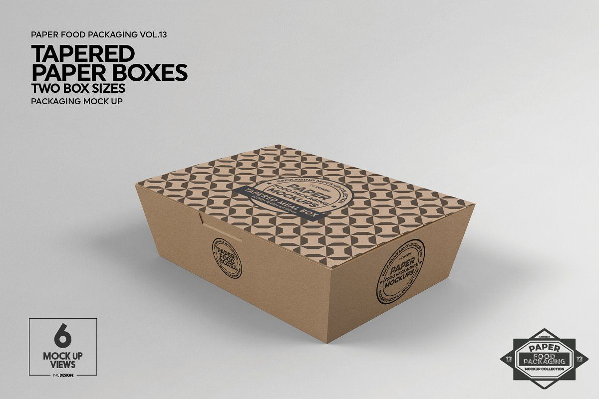 Download Paper Tapered Takeout Boxes Mockup Food Box Packaging Free Packaging Mockup Box Mockup