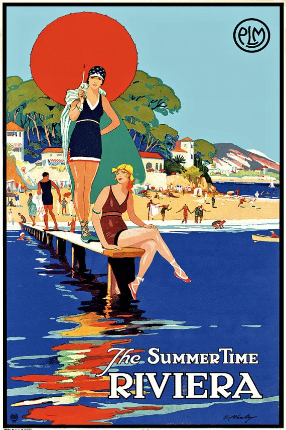 Nice France French Beach Girl Europe Vintage Travel Advertisement Poster