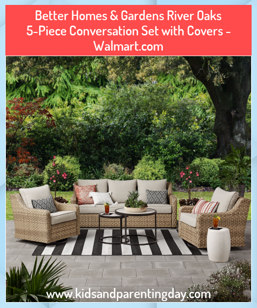 Better Homes Gardens River Oaks 5 Piece Conversation Set With Covers Walmart Com 5piece B In 2020 Backyard Furniture Patio Furniture Layout Resin Patio Furniture
