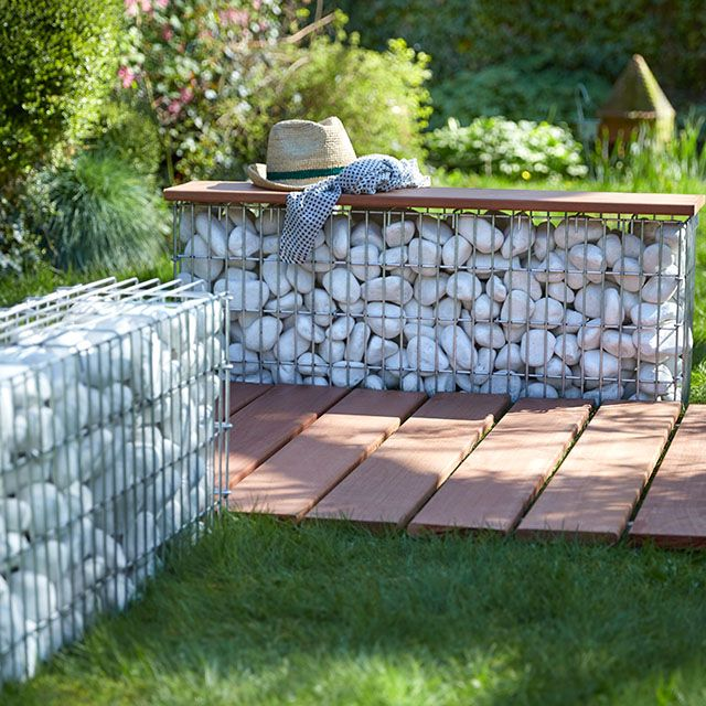 gabion stone garden 100 x 25 x cm bancs terrasses et amenagement jardin. Black Bedroom Furniture Sets. Home Design Ideas
