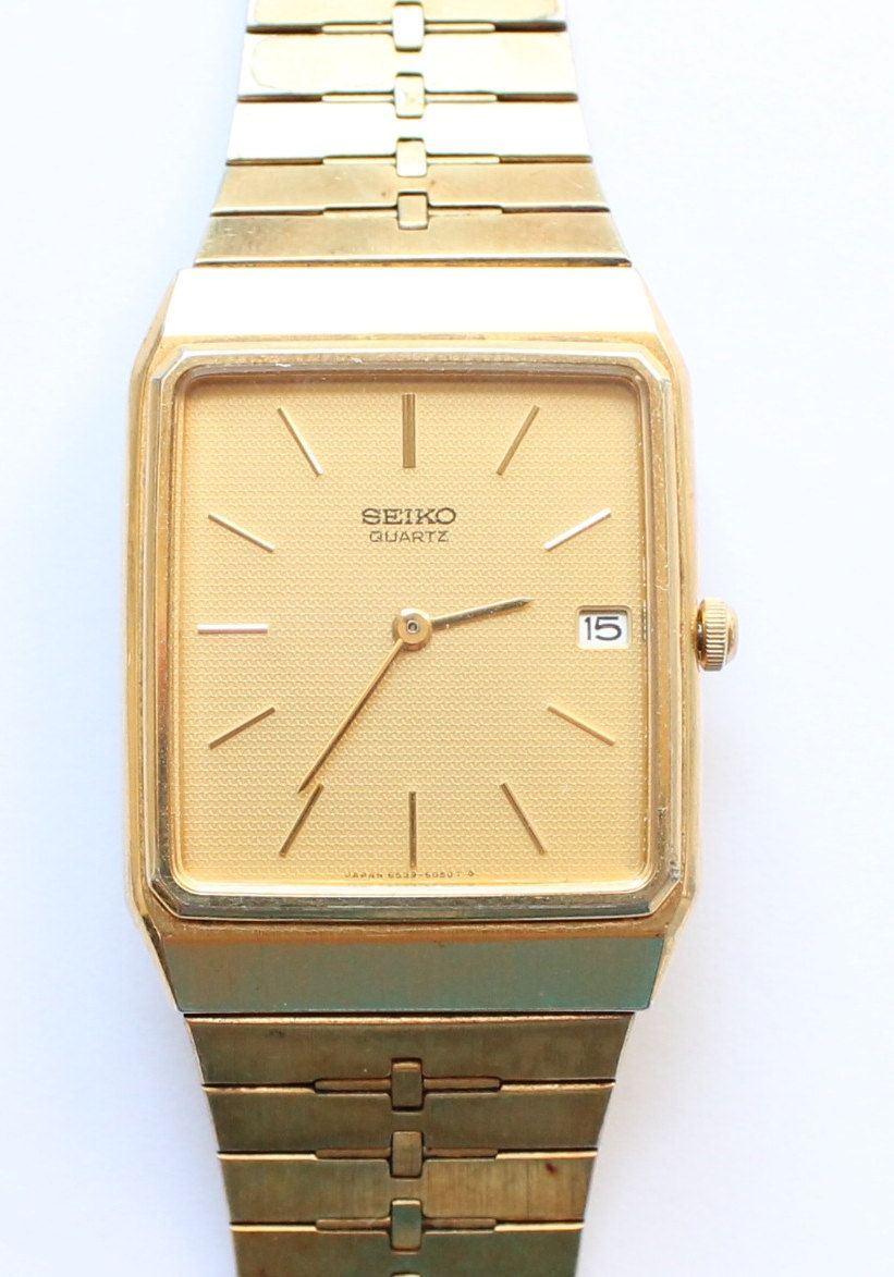 0f80818b4 Men's Seiko Gold Tone Dress Watch with Date on Dial by paststore on Etsy