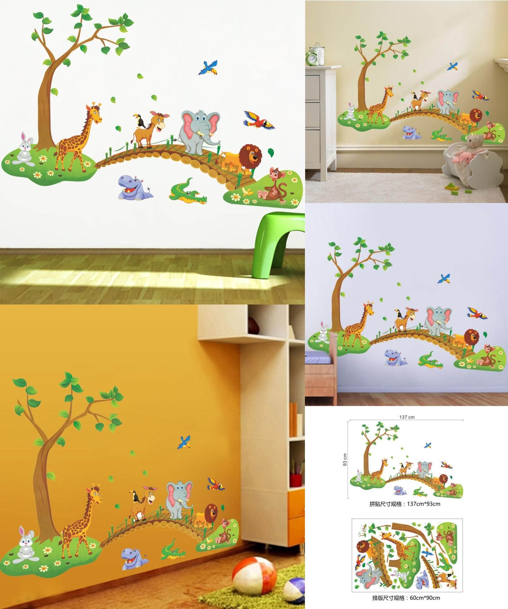 Visit to Buy] 3D Cartoon Jungle wild animal tree bridge lion Giraffe ...