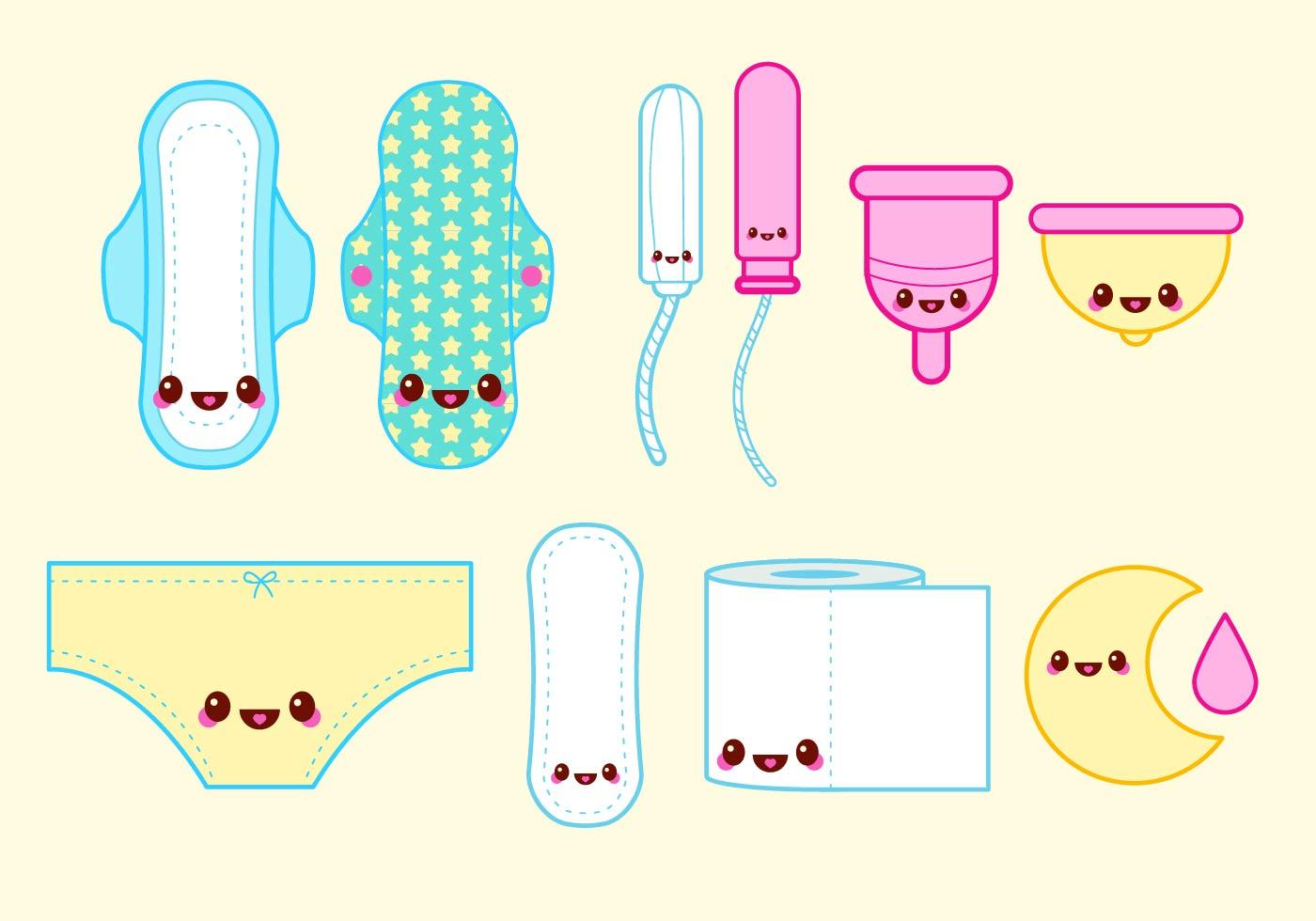 Happy Tampon Period Vector Set Vector free, How to draw