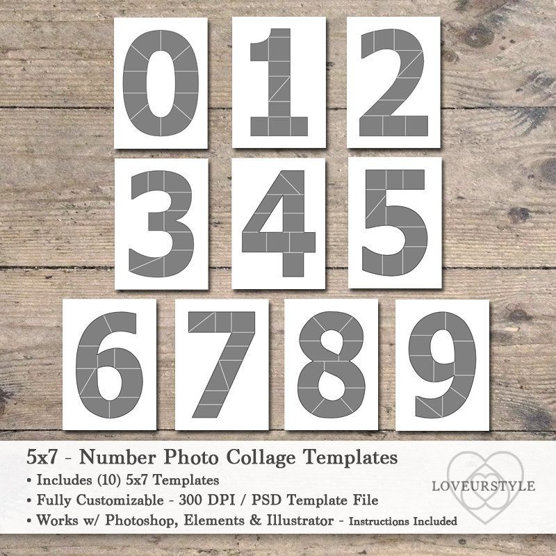 5x7 Photo Card Template Pack Numbers Template Pack Number Templates 0 Thru 9 Each Number Template Holds 10 Images Photo Collage Template In 2021 Photo Collage Template Collage Template Photo Card Template