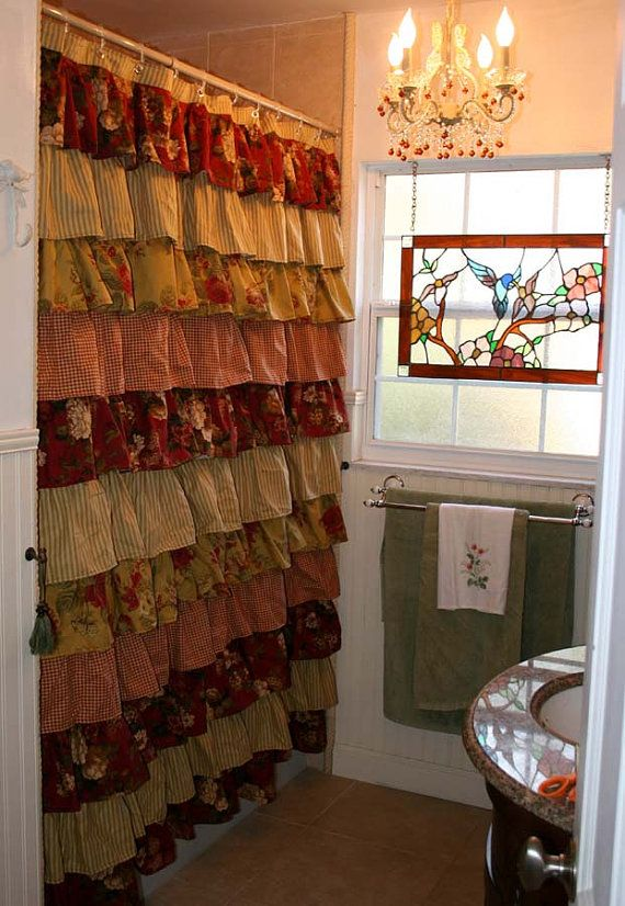 Ruffled Shower Curtain Roses Cherry Red Cottage Bathroom Inspiration Primitive Shower Curtains Primitive Bathrooms