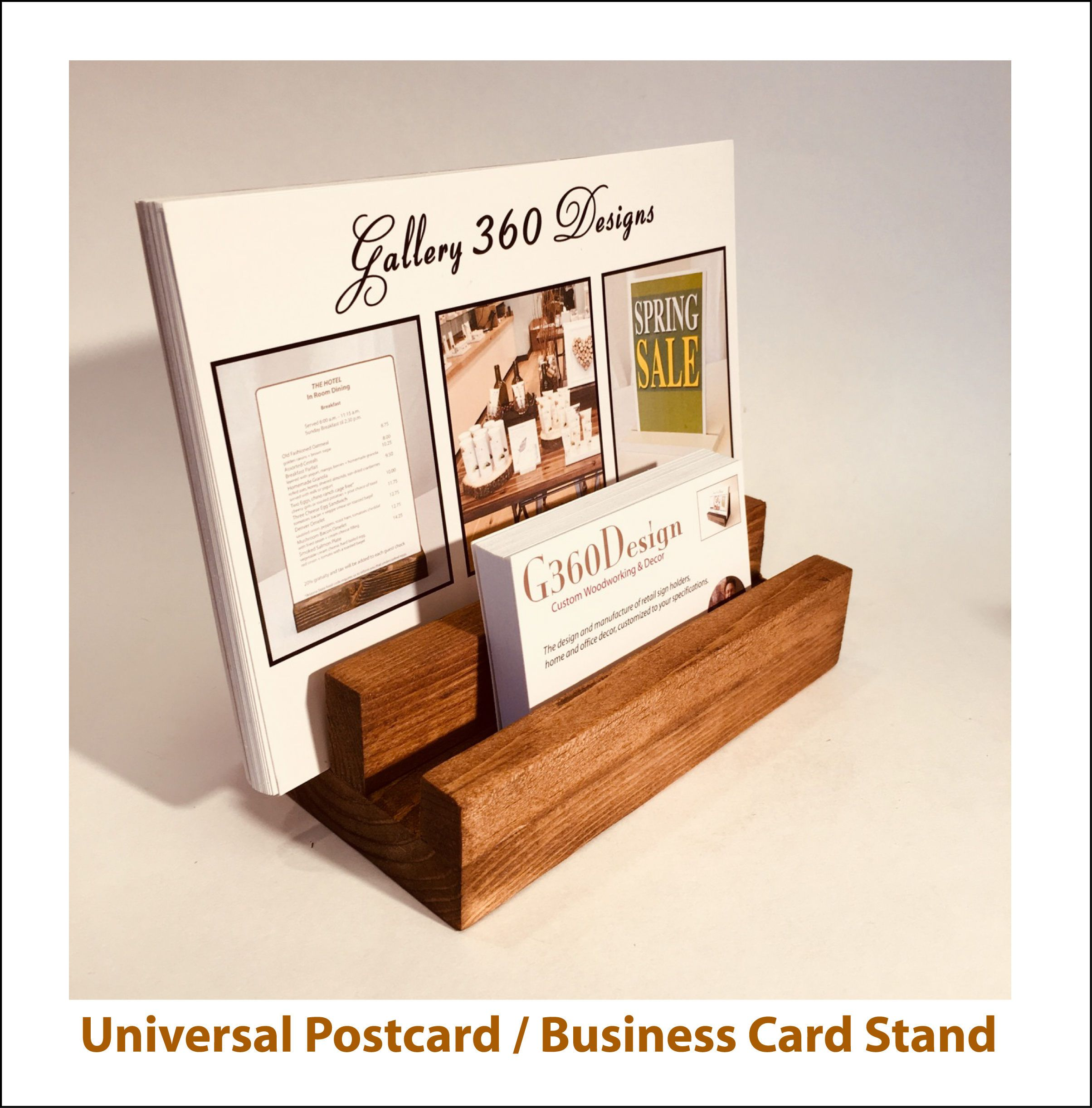 Business Card and Postcard Sign Stand + Universal Wooden Postcard ...