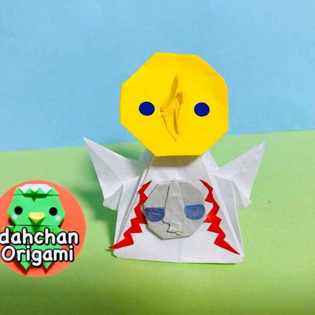 昨日はこちらもつくってましたあ 折り紙 太陽の塔 大阪のシンボルのひとつです 指人形になります ゚ こちらは趣味 自己満で作ったので折り方公開はありません 折り紙 折り紙作品 折り紙アート Or Origami Pikachu Art