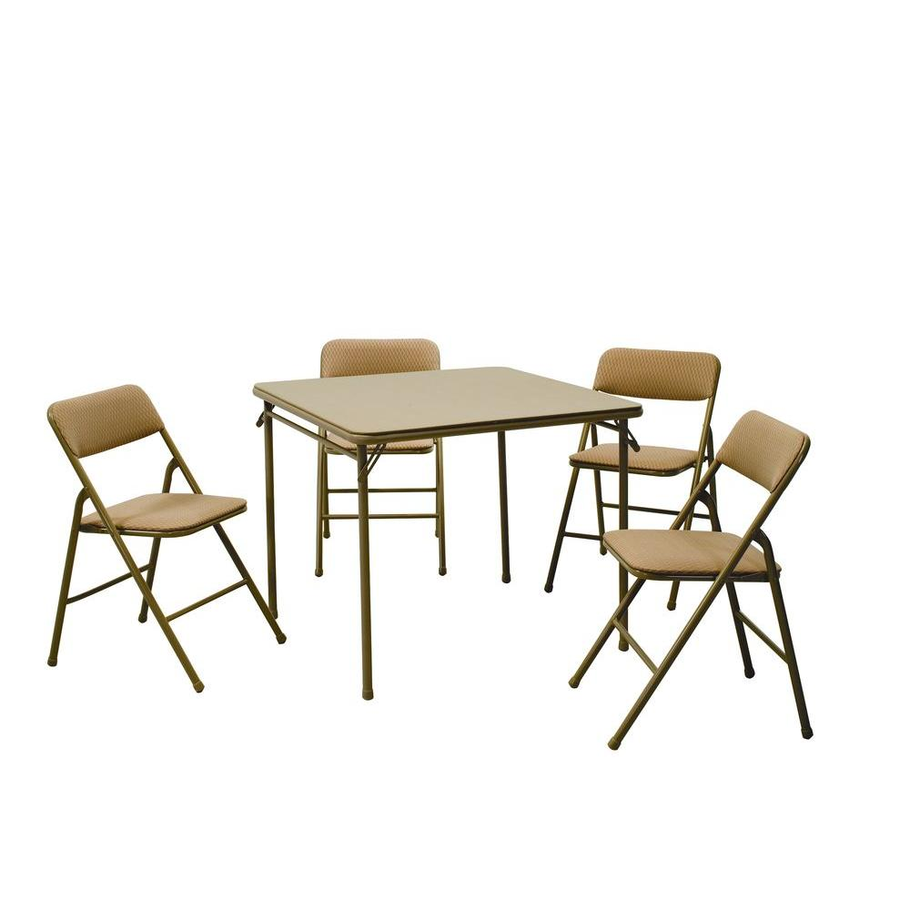 - Cosco 5-Piece Beige Mist Portable Folding Card Table Set-14551WHD