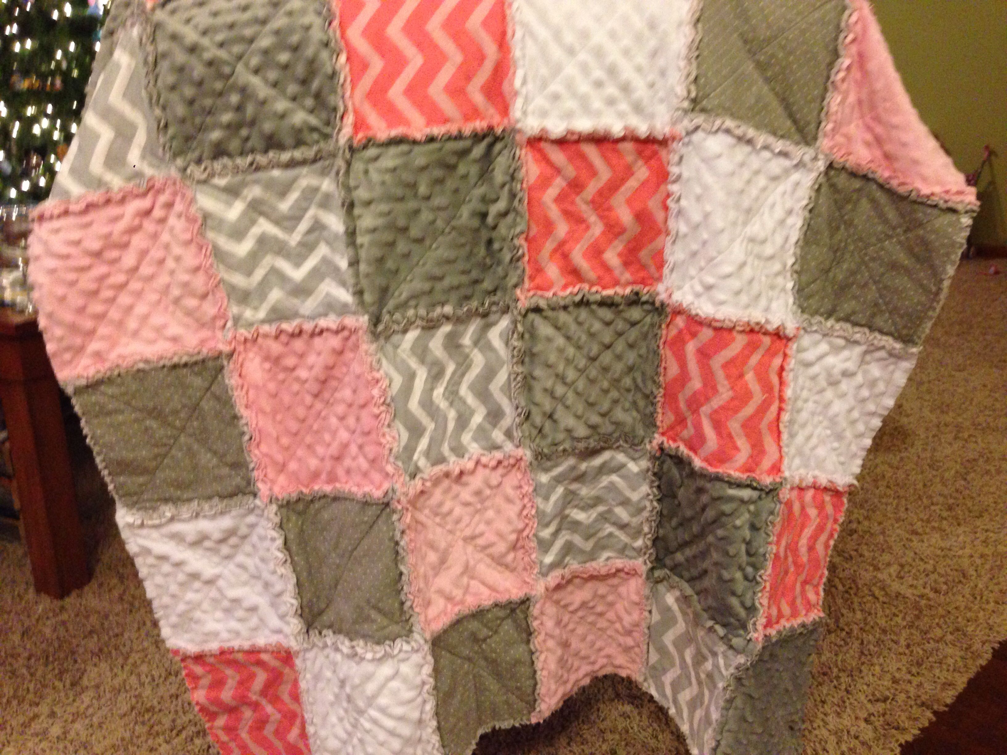 Baby rag quilt- pink & gray chevron & minky | My quilts ... : rag quilts pinterest - Adamdwight.com