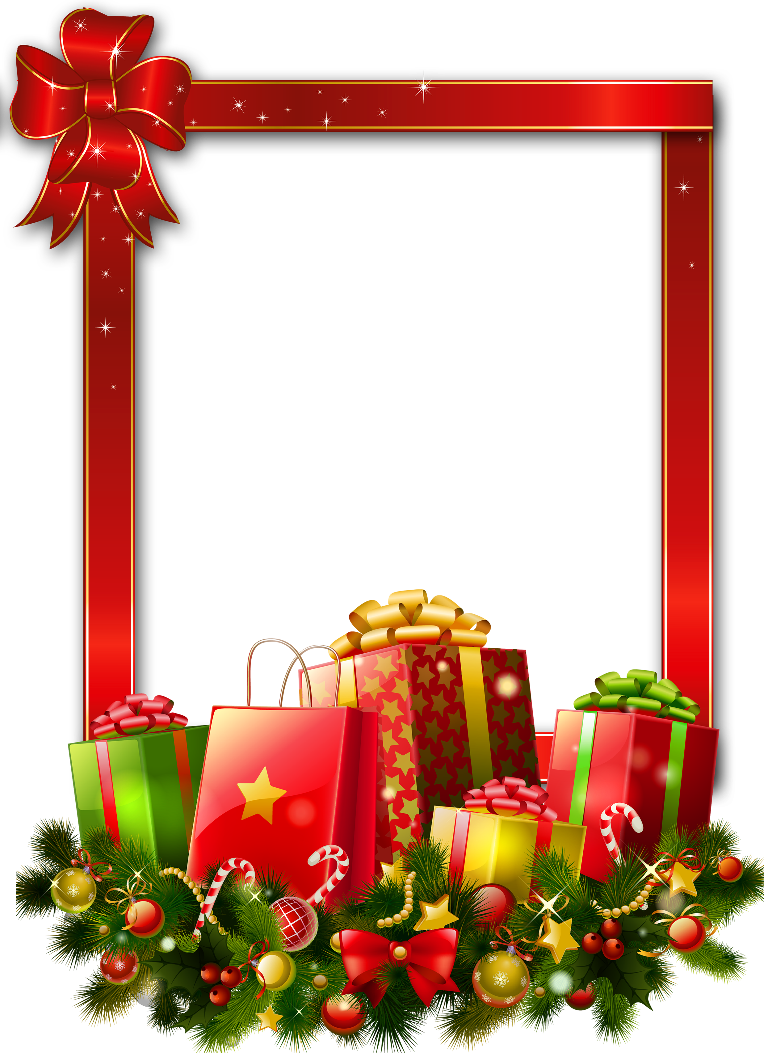 Red Large Christmas Transparent PNG Photo Frame with Presents ...