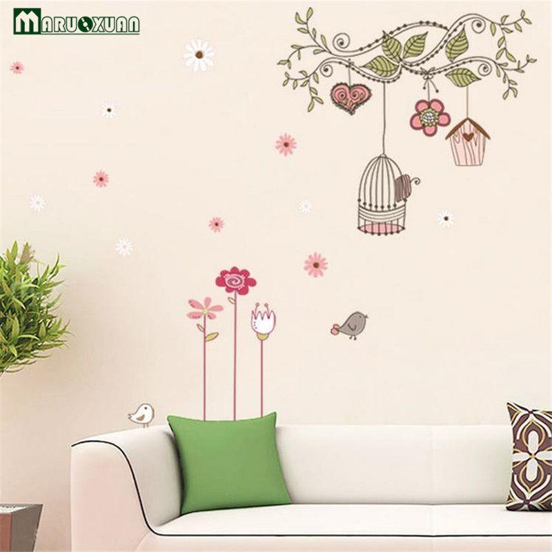 Maruoxuan cartoon happy bird cage tree diy vinyl mural removable wall stickers mural parlor kids bedroom