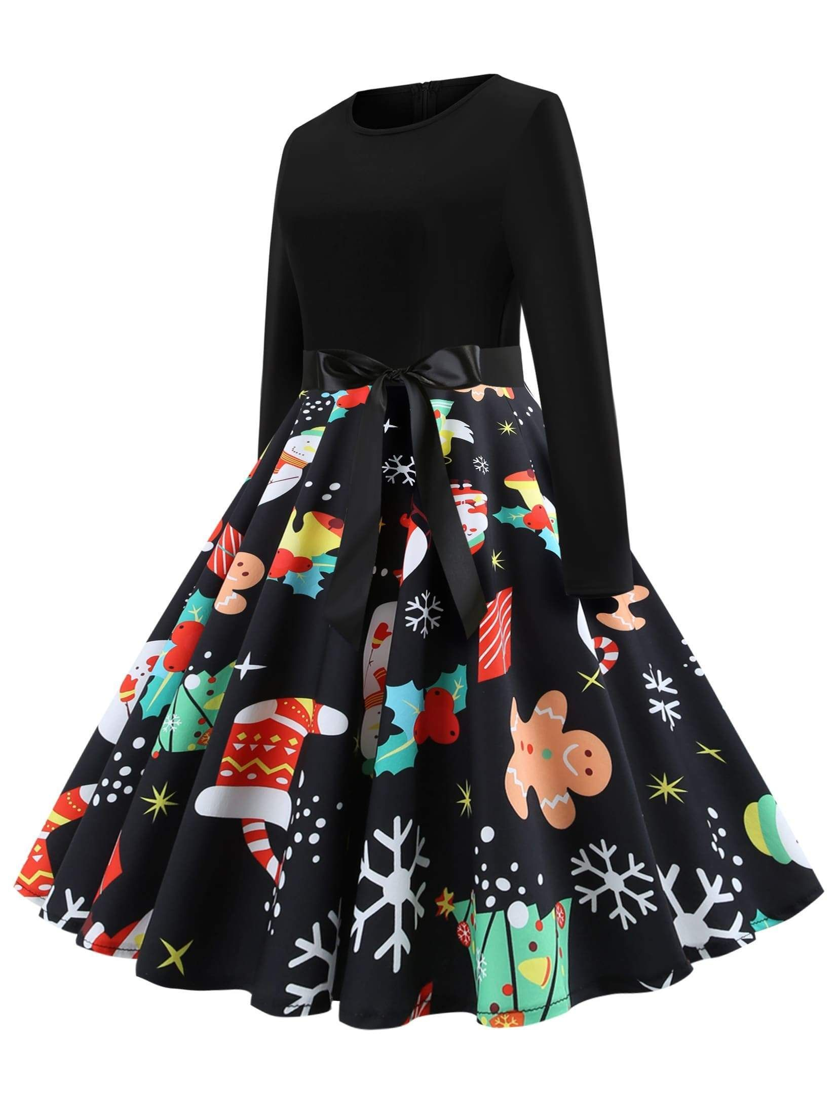 50s Christmas Print Self Tie Flare Dress