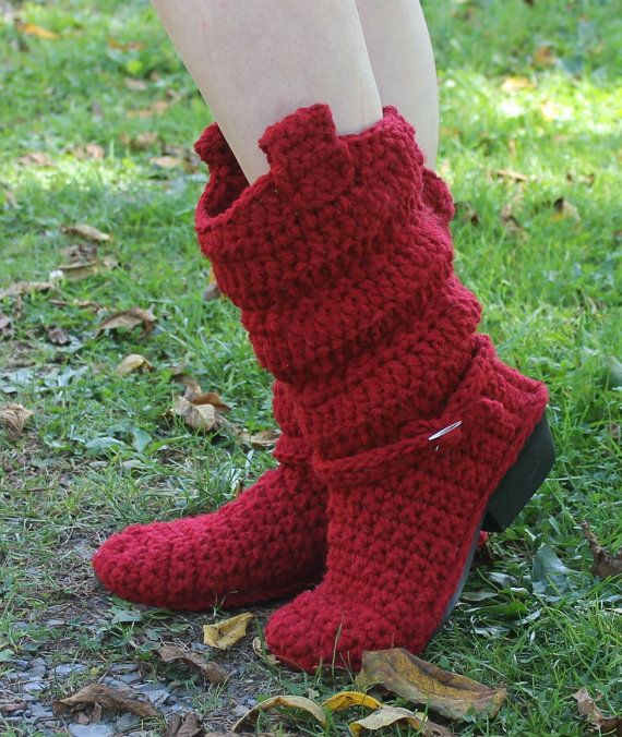 Crochet Boots Pattern-------INCREDIBLE------Slouch COWBOY BOOTS ...