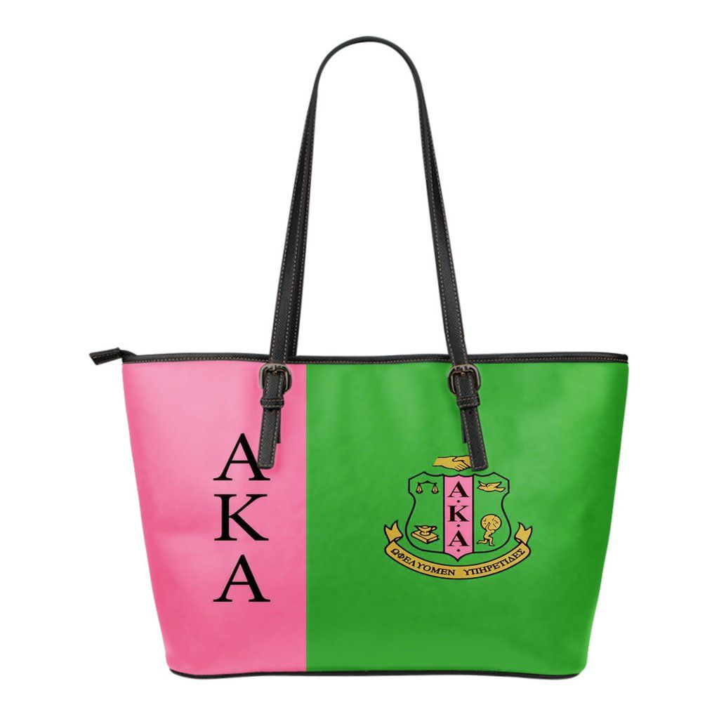 699a15065b5 Alpha Kappa Alpha Small Leather Bag | All About Pink and Green AKA ...