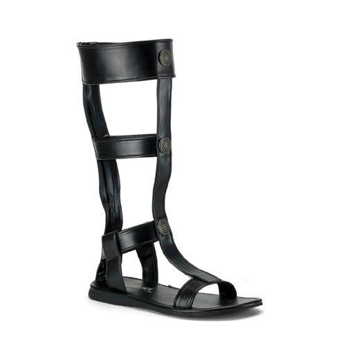 54d126245a74e Black Pu Flat Roman Sandals  God of War Gladiator Medieval  ROMAN16 B PU  -   49.99   Uturn Utopia