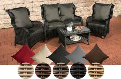 Poly Rattan Garten Lounge Set TOLEDO, 5 Mm RUND Geflecht, ALU Gestell