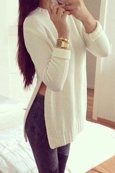 Solid Color Side Slit Round Collar Sweater
