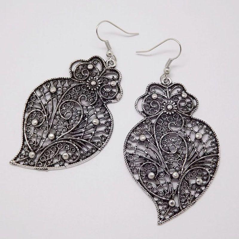 EQ219 Retro Tibetischen Silber Farbe Hohl Blatt Verlässt Vintage Ohrringe Für Frauen Mädchen 2015 Neue Schmuck Bijouterie