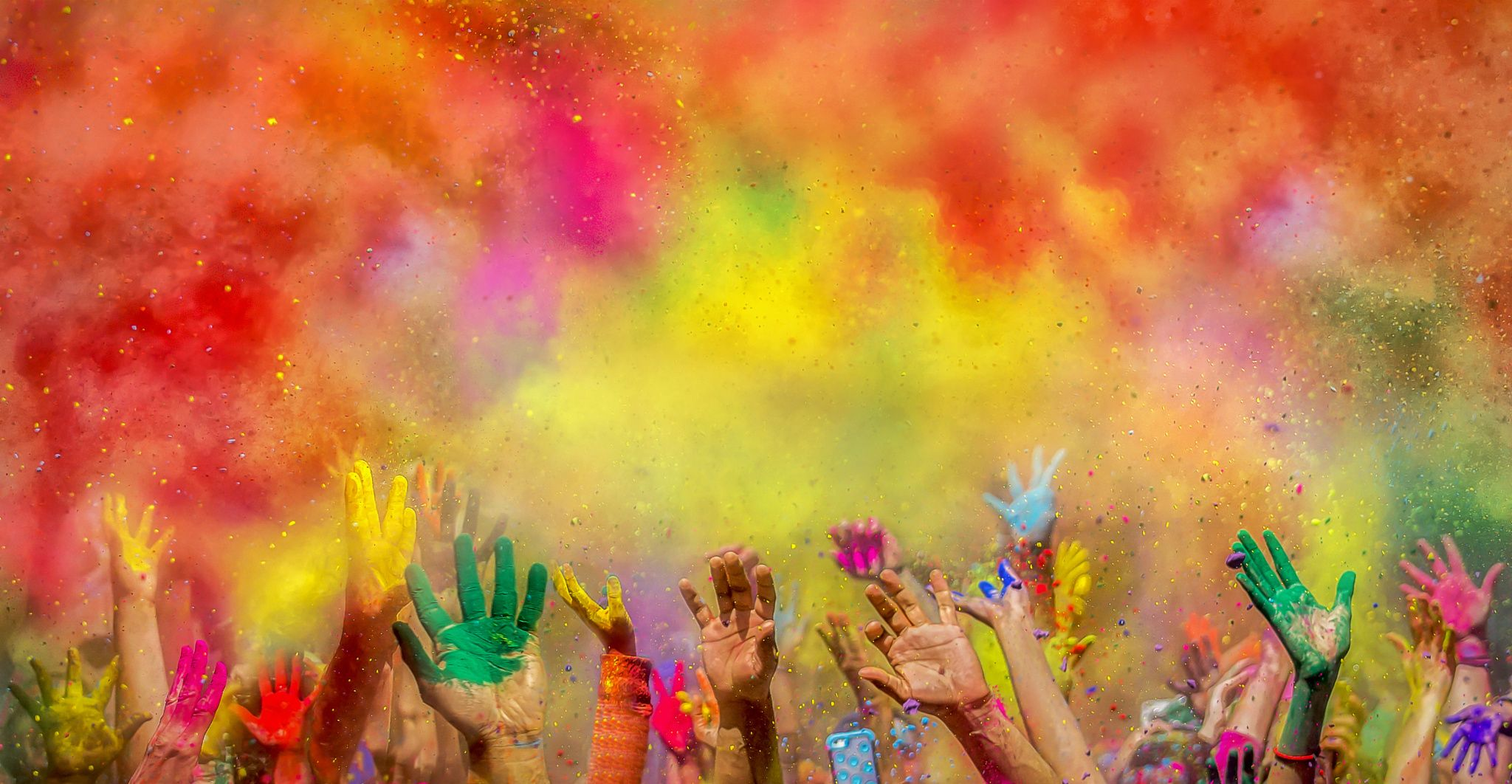 holi colors colorful colours colours hands iskon