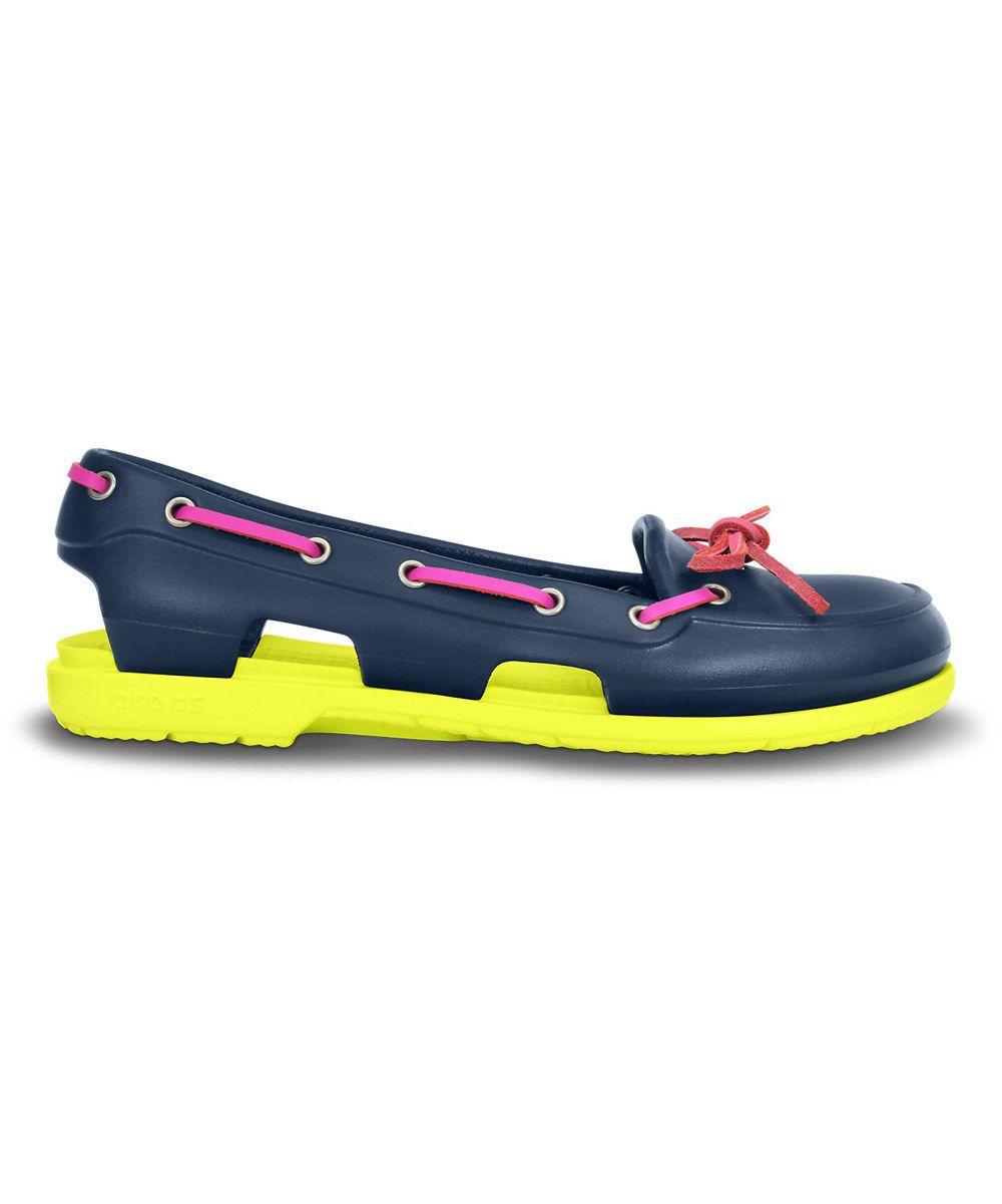 d4f21e5a8 Crocs Navy   Citrus Beach Line Boat Shoe - Women by Crocs  zulilyfinds