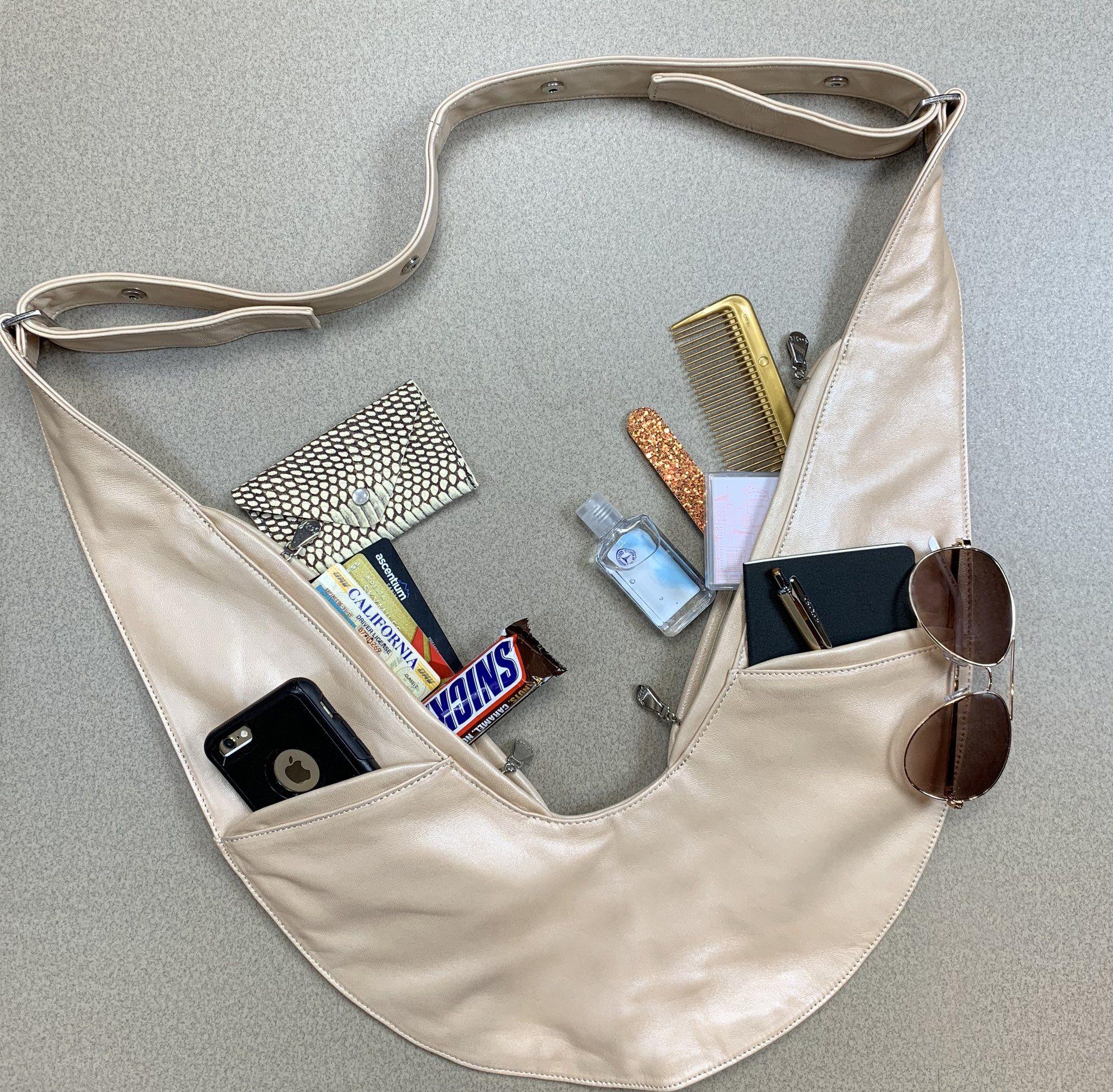 Champagne Classic Leather Sash Bag – Bolsa de moda