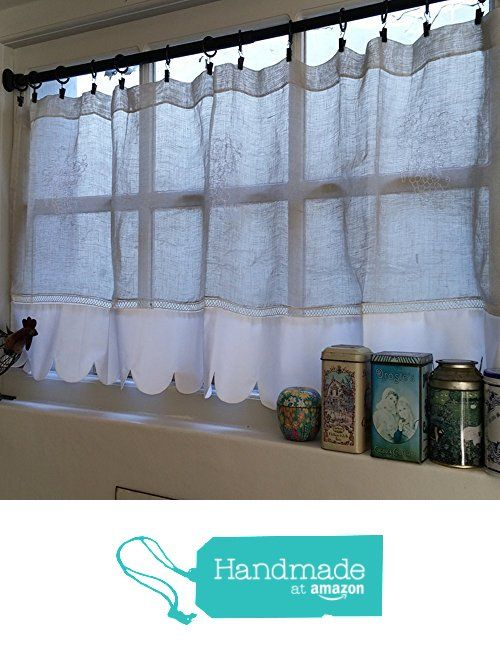 Sheer French Linen Scalloped Kitchen Window Cafe Curtain Valance Monogram From Linen And Letters Http Www Amazon Com Valance Curtains Cafe Curtains Curtains