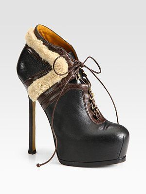 Yves Yves Yves Saint Laurent Leather and Shearling Lace Up Ankle Botas  Zapatos 6dfe31