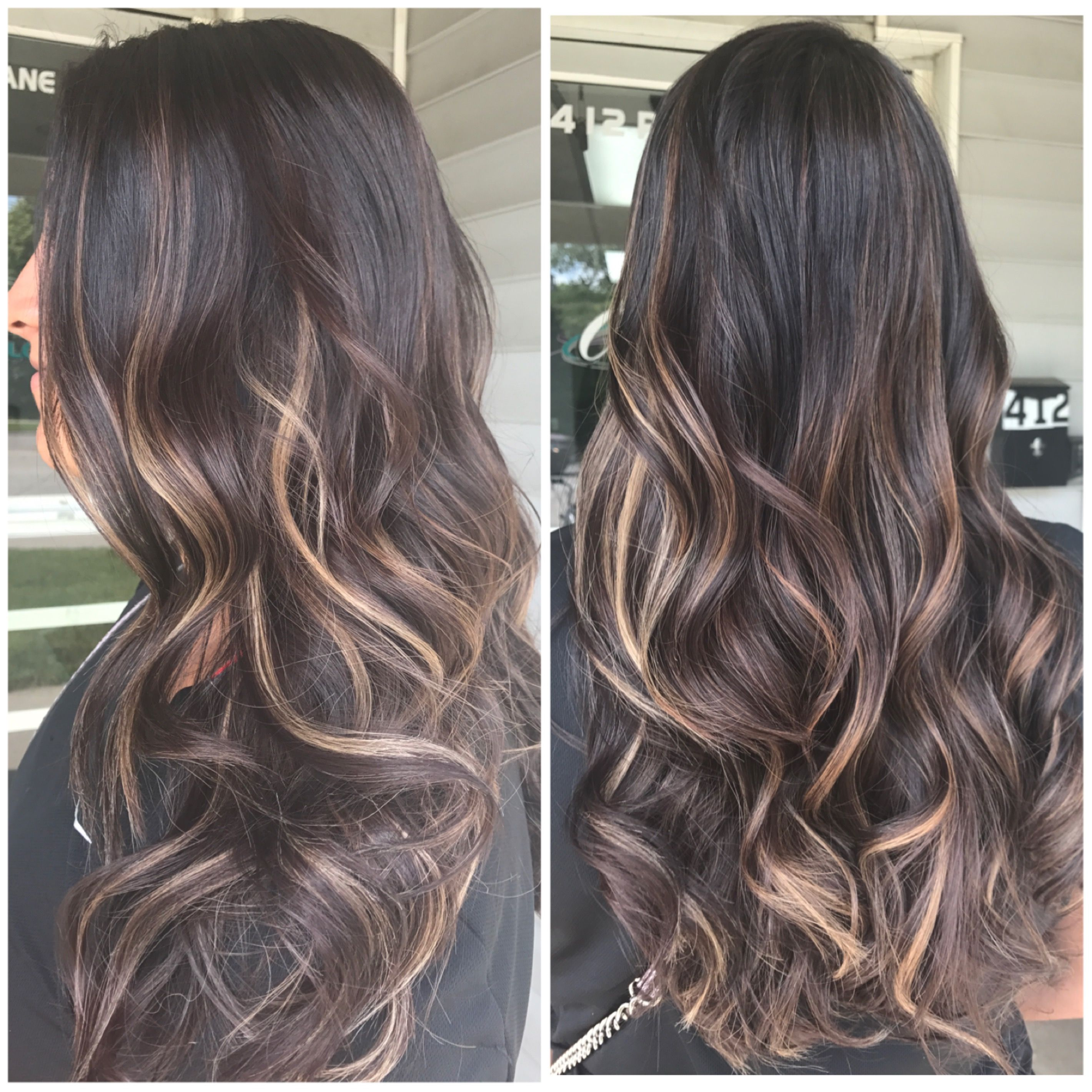 Balayage on long brown hair Toned to a caramel color Beautiful