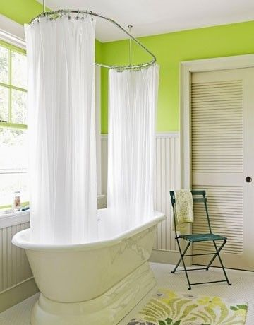 Oval Shower Curtain Rod For Claw Foot Tub Lime Green Bathrooms