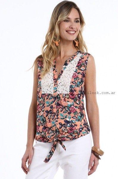 212ca41e62cec camisas estampadas con encaje verano 2016 etam Blusas De Moda 2016