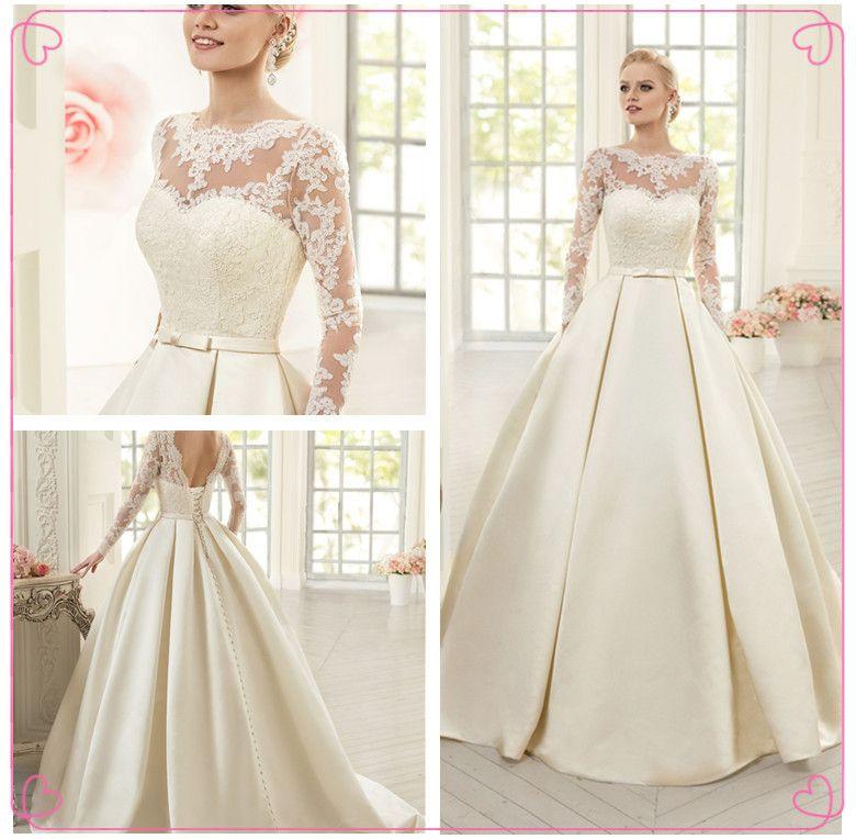 Elegant Simple Long Sleeve Lace Wedding Dress 2016 New High Neck