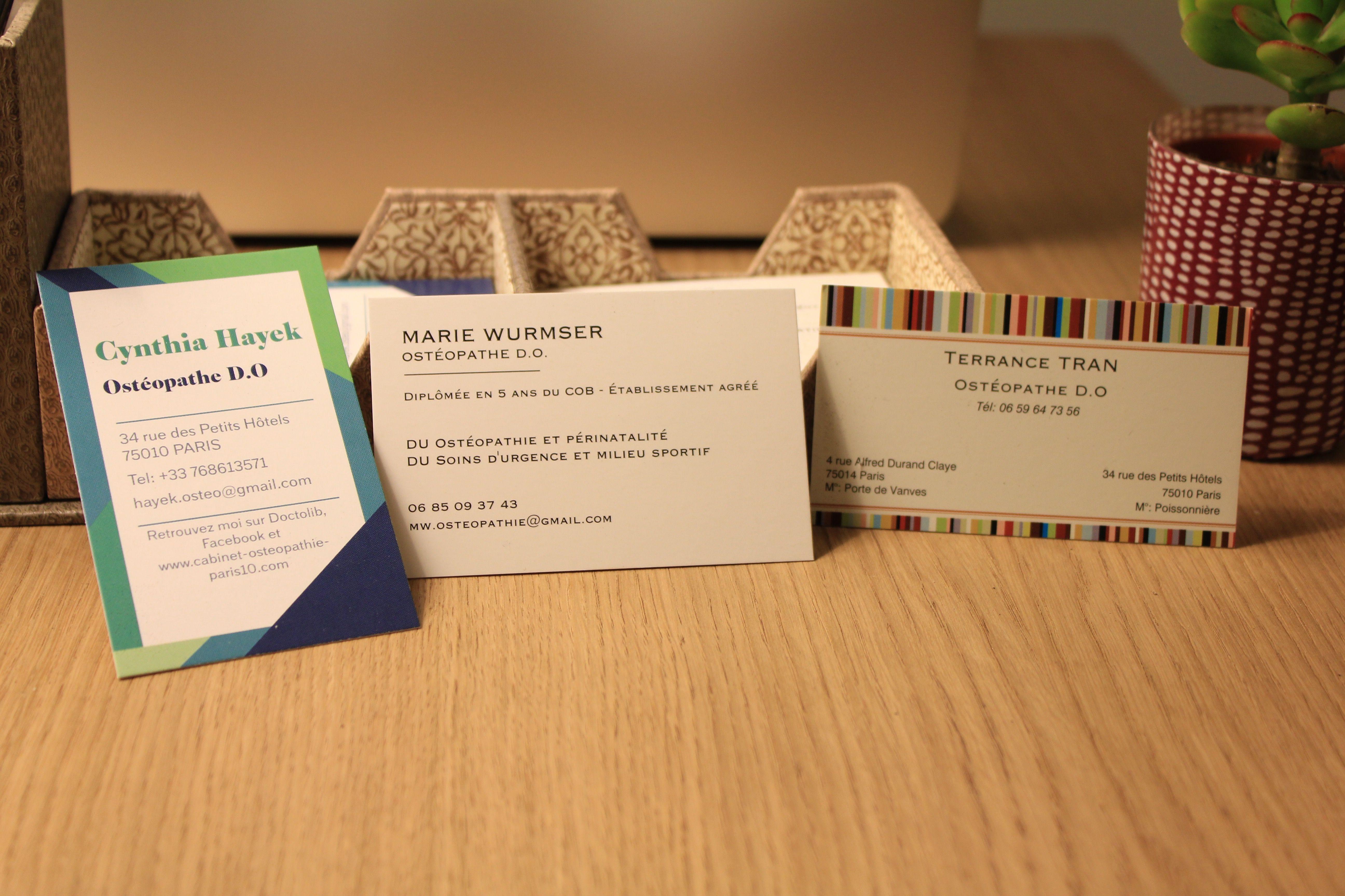 Osteopathe Paris 10 Carte De Visite Avec Images Osteopathie