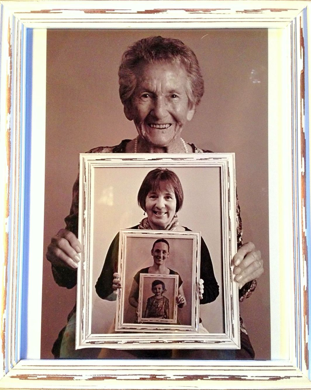Photo frame idea - 4 generations. I made this for my Gran\'s 99th ...