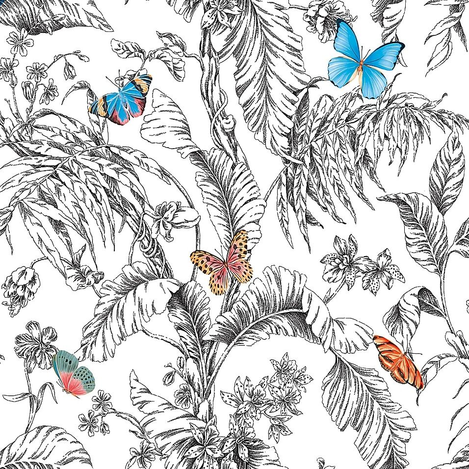 Roommates Butterfly Sketch Peel Stick Wallpaper Orange Peel And Stick Wallpaper Butterfly Sketch Wallpaper